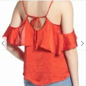 BP Red Off the Shoulder Top Ruffle Tank❄️❄️❄️❄️